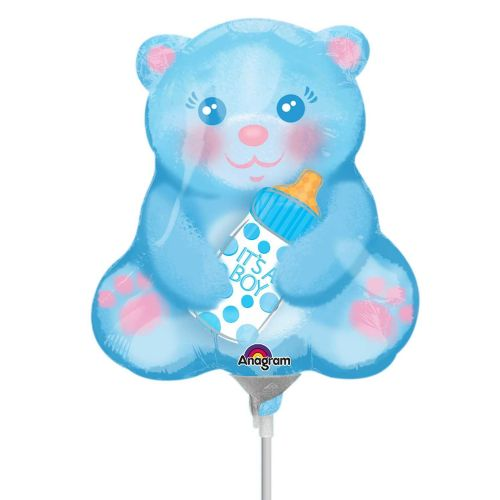 Baby Boy Bear with Bottle Mini Shape Flat